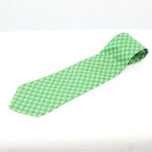 Ralph Lauren Men's Green Knit 100% Silk Tie Hand F